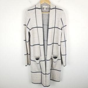 Eileen Fisher Wool Blend Windowpane Open Cardigan